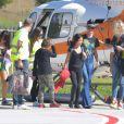Semi-Exclusif - Laeticia Hallyday et ses filles Jade et Joy à leur arrivée à l'aéroport de Saint-Barthélemy. Son amie Liliane Jossua et son fils Gabriel Bogliolo sont venus les accueillir. Le 4 décembre 2019.