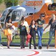 Laeticia Hallyday et ses filles Jade et Joy à leur arrivée à l'aéroport de Saint-Barthélemy. Son amie Liliane Jossua et son fils Gabriel Bogliolo sont venus les accueillir. Le 4 décembre 2019