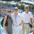 Charlene Wittstock, le prince Albert de Monaco et Giovanni Malago à Rome pour les championnats de natation le 26 juillet 2009