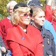 """Jane Fonda est de nouveau arrêtée lors d'une manifestation pour le climat devant le Capitole à Washington le 18 octobre 2019. Elle participait à la manifestation """"Fire Drill Friday""""."""