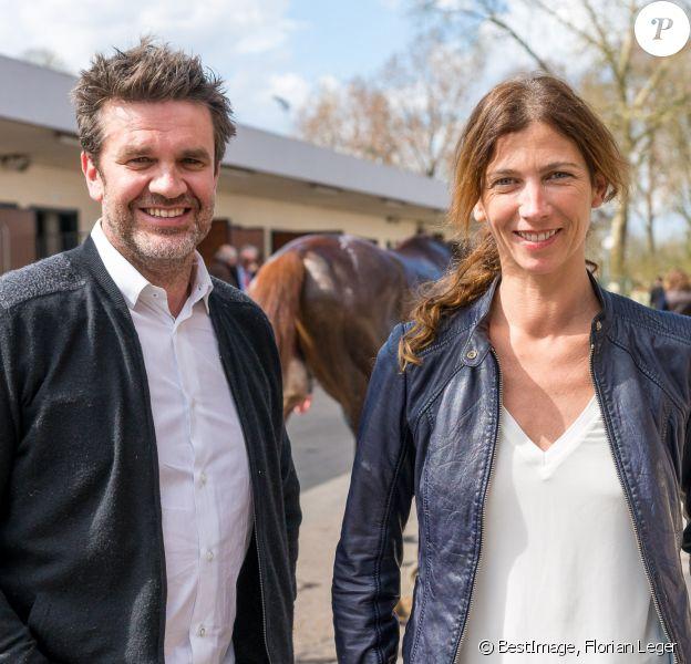 Hervé Mathoux et sa femme Maryline Olivie - Les Dimanches au Galop à l'Hippodrome d'Auteuil, Paris le 3 avril 2016. © Florian Leger / Share & Dare via Bestimage