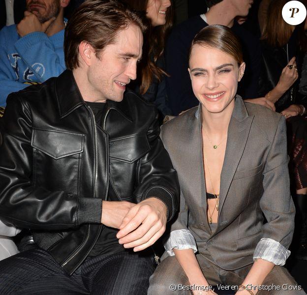 """Robert Pattinson, Cara Delevingne - Front row du défilé de mode Homme automne-hiver 2020/2021 """" Dior Homme """" lors de la fashion week à Paris. Le 17 janvier 2020 © Veeren - Christophe Clovis / Bestimage"""