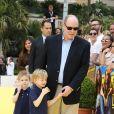 Le prince Albert II de Monaco et ses enfant le prince héréditaire Jacques et la princesse Gabriella lors de l'anniversaire des 20 ans de Bob l'Eponge, au 59eme Festival de Télévision de Monte-Carlo au Grimaldi Forum à Monaco le 16 juin 2019.