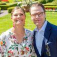 La princesse héritière Victoria de Suède avec son mari le prince Daniel le 14 juillet 2019 lors de la célébration de son 42e anniversaire à la Villa Solliden sur l'île d'Öland.