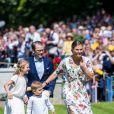 La princesse héritière Victoria de Suède en famille le 14 juillet 2019 lors de la célébration de son 42e anniversaire à la Villa Solliden sur l'île d'Öland.
