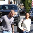 Matt Pokora et sa compagne Christina Milian se baladent avec leur fils Isaiah dans le quartier de West Hollywood à Los Angeles. La petite famille est allée déjeuner chez Fred Segal. Le 11 février 2020  Christina Milian and her rapper boyfriend Matt Pokora bring their newborn little one with them for lunch at Fred Segal in West Hollywood. Matt carried his newborn child in a carrier as Christina hugs a friend goodbye. 11th february 202011/02/2020 - Los Angeles