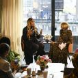 "Serena Williams interviewée par Anna Wintour lors de la présentation de la nouvelle collection de ""S by Serena"" à New York. Le 12 février 2020."
