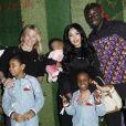 Exclusif - Sarah Lavoine avec Mamadou Sakho, sa femme Majda et leurs enfants, Aïda, Sienna et Tidane, lors du premier goûter des étoiles au profit de l'association AMSAK à l'Orangerie au Jardin d'acclimatation à Paris, France, le 1er mars 2020.© Marc Ausset-Lacroix/Bestimage