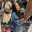 Jay-Z, sa fille Blue Ivy et LeBron James à l'issue du match de NBA Los Angeles Clippers - Los Angeles Lakers au Staples Center. Le 8 mars 2020.