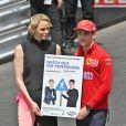 La princesse Charlene de Monaco et Charles Leclerc - campagne pour la sécurité routière - People lors du 77 ème Grand Prix de Formule 1 de Monaco le 26 Mai 2019. © Bruno Bebert / Bestimage