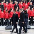 Le président Emmanuel Macron, le roi Felipe VI d'Espagne, la reine Letizia lors de la cérémonie à l'occasion de la première journée nationale d'hommage aux victimes du terrorisme sur l'Esplanade du Trocadero à Paris le 11 mars 2020. © Stéphane Lemouton / Bestimage