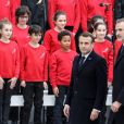 Le président Emmanuel Macron, le roi Felipe VI d'Espagne lors de la cérémonie à l'occasion de la première journée nationale d'hommage aux victimes du terrorisme sur l'Esplanade du Trocadero à Paris le 11 mars 2020. © Stéphane Lemouton / Bestimage