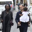 Rama Yade, son mari Joseph Zimet et leur fille Jeanne - Soirée du nouvel an juif chez Marek Halter à Paris le 28 septembre 2014.