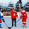 """Exclusif - Le prince Albert II de Monaco a donné le coup d'envoi d'un match de hockey sur glace """"The Last Game"""" à la Patinoire du Quai Albert Ier à Monaco, le 12 février 2020. © Claudia Alburquerque/Bestimage"""