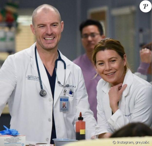 "Richard Flood (Dr Hayes) Ellen Pompeo (Dr Meredith Grey) dans la saison 16 de ""Grey's Anatomy""."