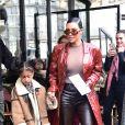 Kim Kardashian, sa fille North West, Kourtney Kardashian et sa fille Penelope Disick sortent du Café de Flore à Paris, le 2 mars 2020.