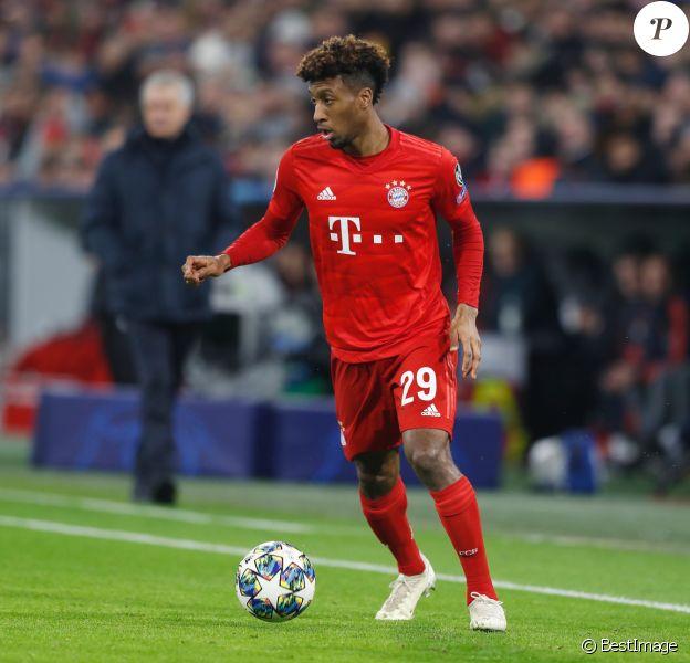 Kingsley Coman lors du match de Ligue des Champions entre le Bayern de Munich et Tottenham à Munich le 11 Décembre 2019. Le Bayern a gagné 3 à 1.