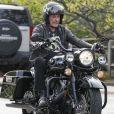 Johnny Hallyday sur l'une de ses Harley Davidson en mai 2017.