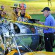 Image de l'avion qu'Harrison Ford pilotait et qui s'est écrasé sur un terrain de golf de Venice à Los Angeles le 5 mars 2015. Un accident impressionnant !