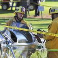 Actor Harrison Ford has been hurt after crashing his vintage Ryan PT-22 recruit plane into Penmar golf course in Venice, Los Angeles, CA, USA, March 5, 2015. In the photographs a FAA inspector and a fire chief are seen inspecting Harrison's leather helmet and the cockpit of the estimated quarter million dollar plane. Photo by GSI/ABACAPRESS.COM06/03/2015 - Los Angeles