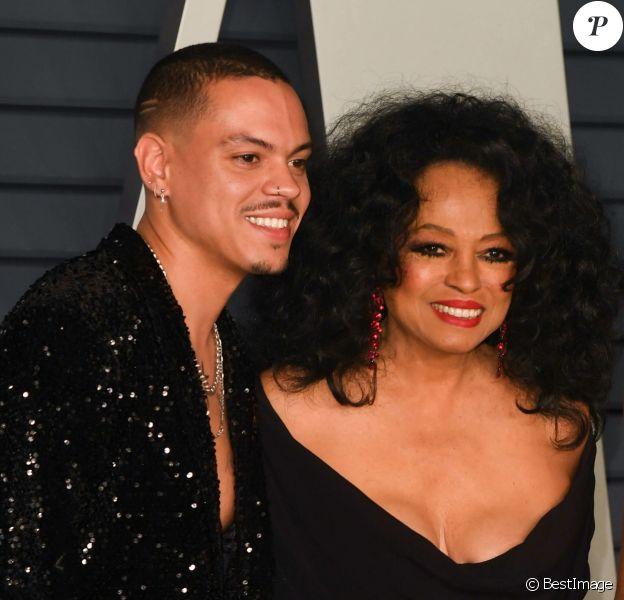 Diana Ross avec ses enfants Evan Ross et Tracee Ellis Ross à la soirée Vanity Fair Oscar Party à Los Angeles, le 24 février 2019.