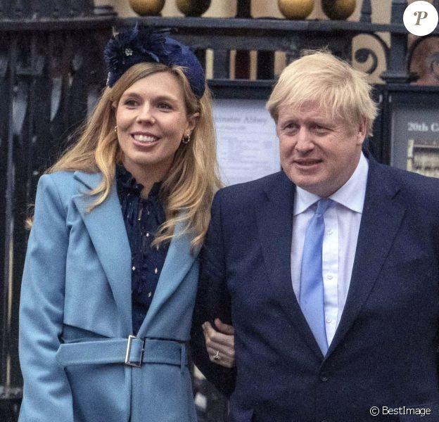 Le Premier ministre britannique Boris Johnson et sa compagne Carrie Symonds (enceinte) - La famille royale d'Angleterre à la sortie de la cérémonie du Commonwealth en l'abbaye de Westminster à Londres, le 9 mars 2020.