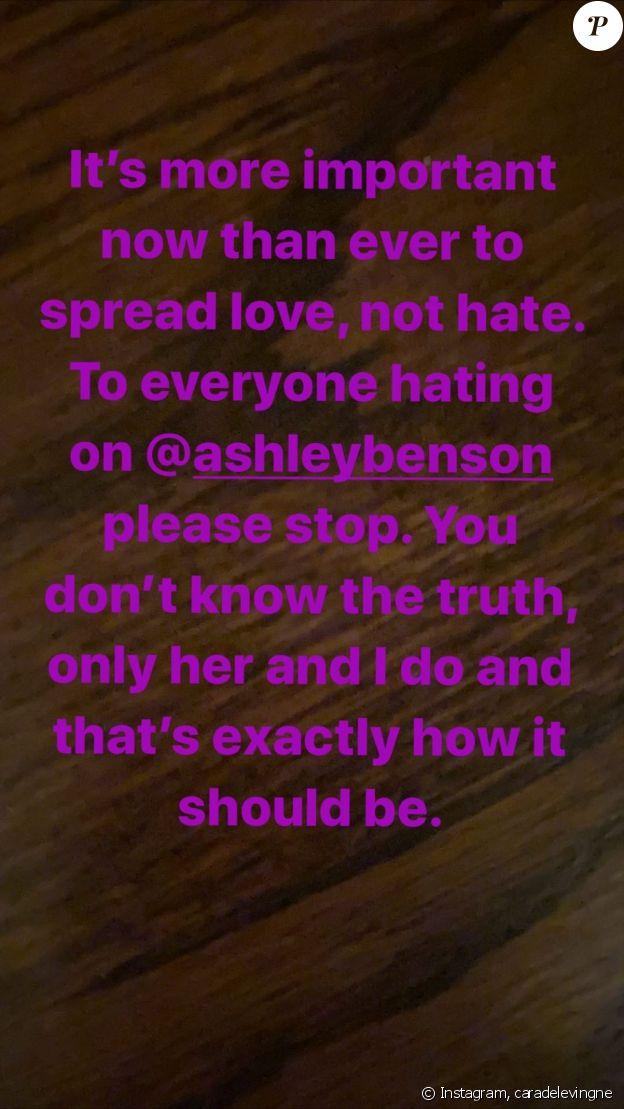 Cara Delevingne prend la défense de son ex-compagne Ashley Benson sur Instagram, le 15 mai 2020.