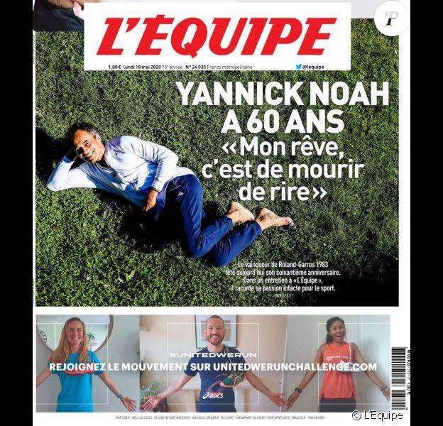 """Yannick Noah en couverture de """"L'Equipe"""" le 18 mai 2020 pour ses 60 ans. L'ancien champion de tennis avait prévu de faire une """"teuf"""" avec ses 5 enfants mais la pandémie de coronavirus a compromis ses plans."""