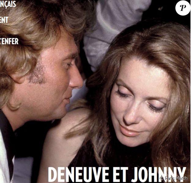 """Catherine Deneuve et Johnny Hallyday en couverture de """"Paris Match"""", numéro du 4 juin 2020."""