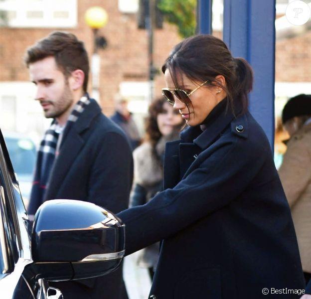 Exclusif - Meghan Markle, enceinte, est allée déjeuner avec son nouveau directeur adjoint de la Communication Christian Jones dans un restaurant à l'ouest de Londres le 17 janvier 2019.