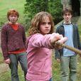 """Rupert Grint, Daniel Radcliffe et Emma Watson dans """"Harry Potter et le prisonnier d'Azkaban"""". 2004. @Warner Bros/KRT/ABACA."""
