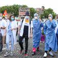 Manifestation des personnels soignants à l'appel des syndicats et collectifs hospitaliers, à Paris le 16 juin 2020. © Stéphane Lemouton / Bestimage