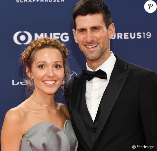 """Jelena Djokovic et son mari Novak Djokovic - Les célébrités posent sur le tapis rouge lors de la soirée des """"Laureus World sports Awards"""" à Monaco le 18 février, 2019."""
