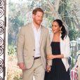 """Le prince Harry, duc de Sussex, et Meghan Markle (enceinte), duchesse de Sussex en visite au """"Andalusian Gardens"""" à Rabat lors de leur voyage officiel au Maroc 25 February 2019."""