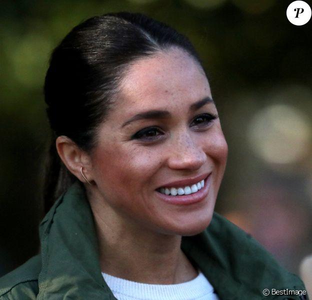 Meghan Markle (enceinte), duchesse de Sussex en visite à la Fédération Royale Marocaine de Sports Equestres à Rabat, lors de leur voyage officiel au Maroc. Le 25 février 2019