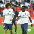 David Luiz et Serge Aurier - Match de Ligue 1 PSG-Metz - 2ème journée au Parc des Princes à Paris, le 21 août 2016. Victoire du PSG 3-0. © Pierre Perusseau/Bestimage