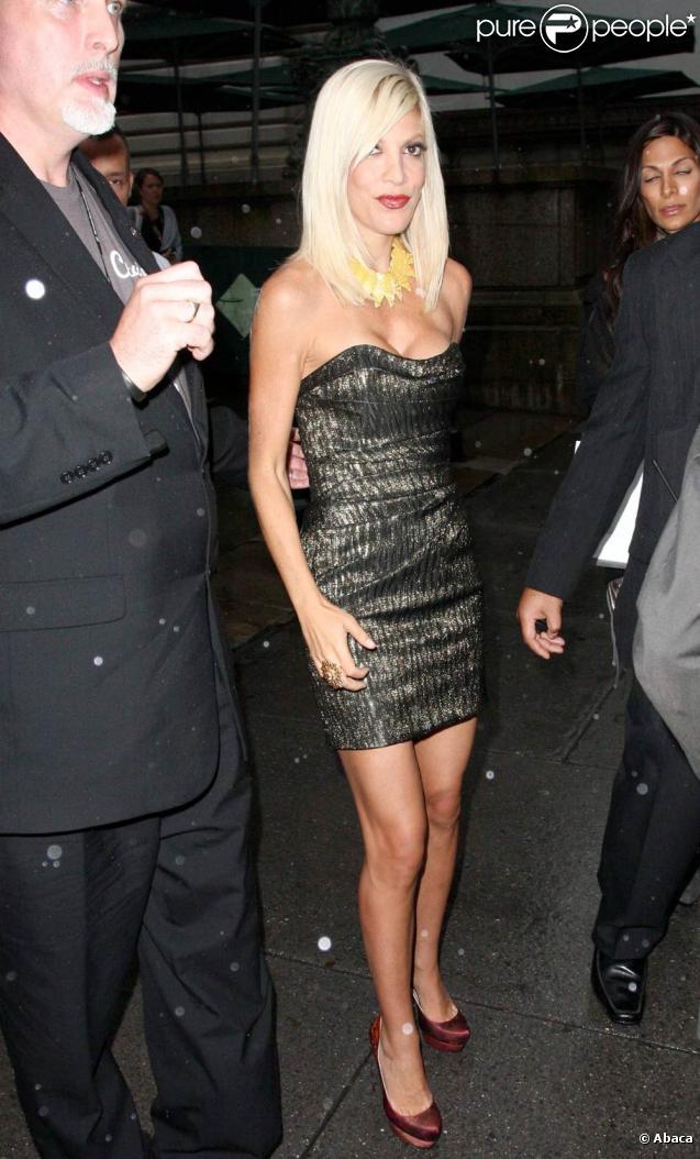 Tori Spelling arrivant à la Mercedes Benz Fashion Week, le 12 septembre 2009