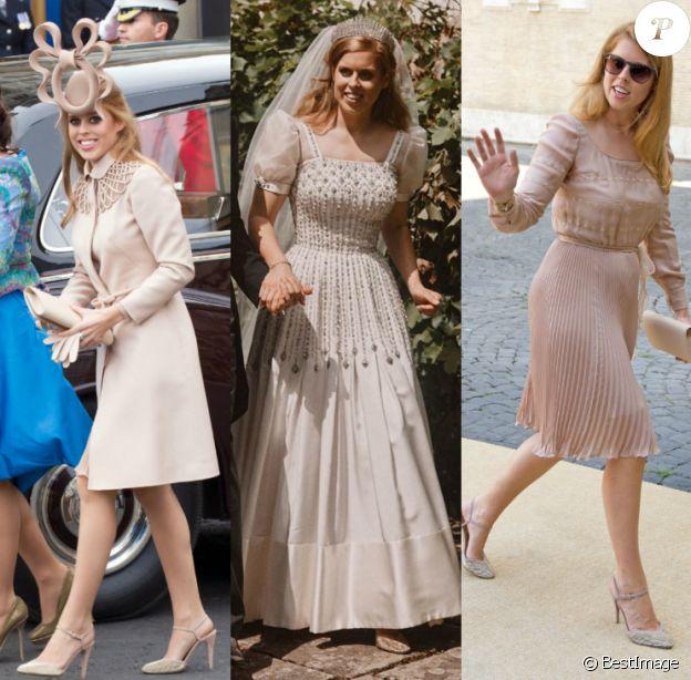 La princesse Beatrice portant sa paire d'escarpins pailletés Valentino à trois reprises : en 2011 pour le mariage du prince William et Kate Middleton, lors de son propre mariage célébré le 17 juillet 2020, et pour le mariage du prince Amedeo de Belgique en 2014.