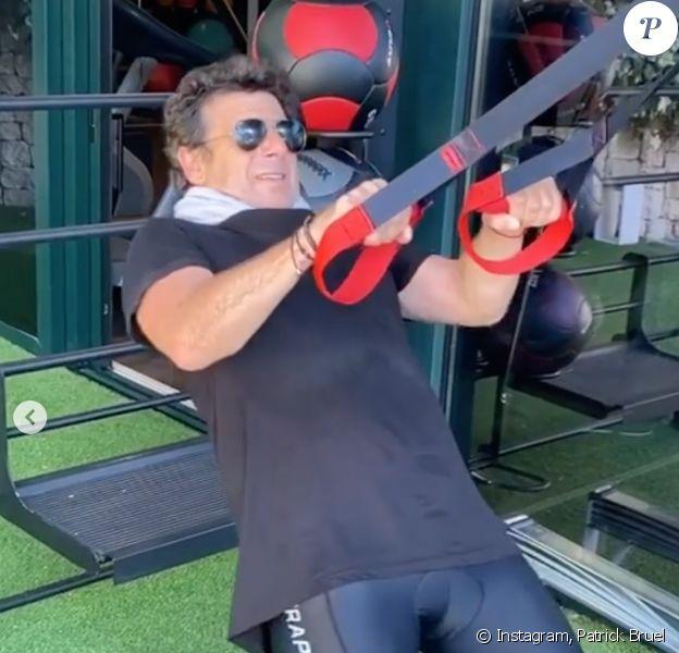 Patrick Bruel fait du sport au centre de remise en forme SHA, à Alicante. Juillet 2020.