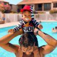 Benoît Assadi et son fils Juliann, le 11 juillet 2020, à la piscine