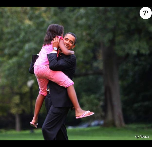Barack Obama et ses filles Sasha et Malia : grand moment de tendresse à la Maison Blanche le 15/09/09