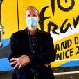 Exclusif - Christian Prudhomme, le directeur du Tour de France, durant le dévoilement des fresques de l'artiste Otom sous le pont du stade Allianz Riviera à Nice, le 25 août 2020. © Bruno Bebert / Bestimage