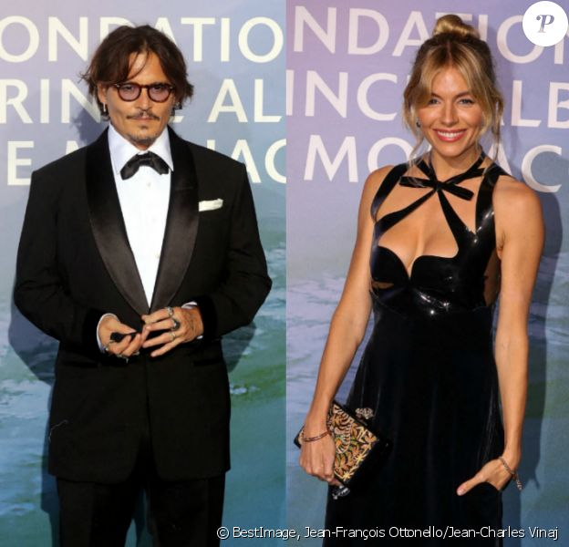 "Johnny Depp et Sienna Miller - Gala ""Monte-Carlo Gala for Planetary Health"" organisé par la Fondation Prince Albert II de Monaco, 2020. © Jean-François Ottonello / Jean-Charles Vinaj / Bestimage"