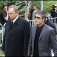 Roger Hanin et Anthony Dupray aux obsèques de Filip Nikolic, à Sainte-Geneviève-des-Bois, dans l'Essonne. 24/09/09