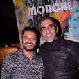 Exclusif - Kev Adams et Ary Abittan lors de la soirée de lancement du Fridge, le nouveau comedy club de Kev Adams à Paris le 24 septembre 2020. © Rachid Bellak / Bestimage