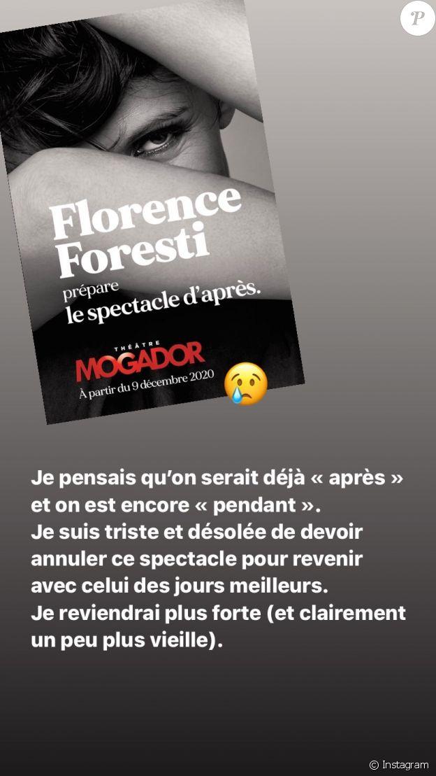 Florence Foresti annonce l'annulation de sa tournée et de son spectacle, le 9 octobre 2020.