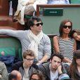 Stéphane Plaza , Karine Le Marchand et sa fille Alya aux Internationaux de France de tennis de Roland Garros à Paris, le 29 mai 2014.