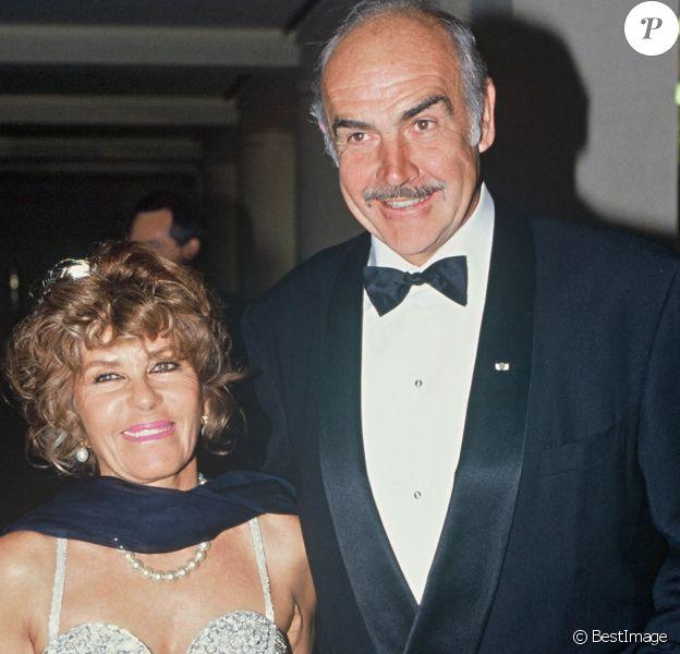Sean Connery et sa femme Micheline Roquebrune - Archives. 1992