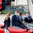 """Pierre Casiraghi et sa femme Béatrice Borromeo - Tournage du remake du court métrage """"C'était un rendez-vous"""" avec cette fois-ci comme acteur principal le pilote monégasque de l'écurie Ferrari C.Leclerc au volant d'une Ferrari SF90 Stradale sur le parcours du Grand Prix de Monaco bouclé pour l'occasion durant deux heures le 24 mai 2020. © Bruno Bebert/Bestimage"""