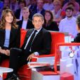 "Exclusif - Prix Spécial - Carla Bruni-Sarkozy, Nicolas Sarkozy et Michel Drucker - Enregistrement de l'émission ""Vivement Dimanche"" à Paris le 30 septembre 2019. Diffusion le 06/10/2019 sur France 2 . © Guillaume Gaffiot/Bestimage"